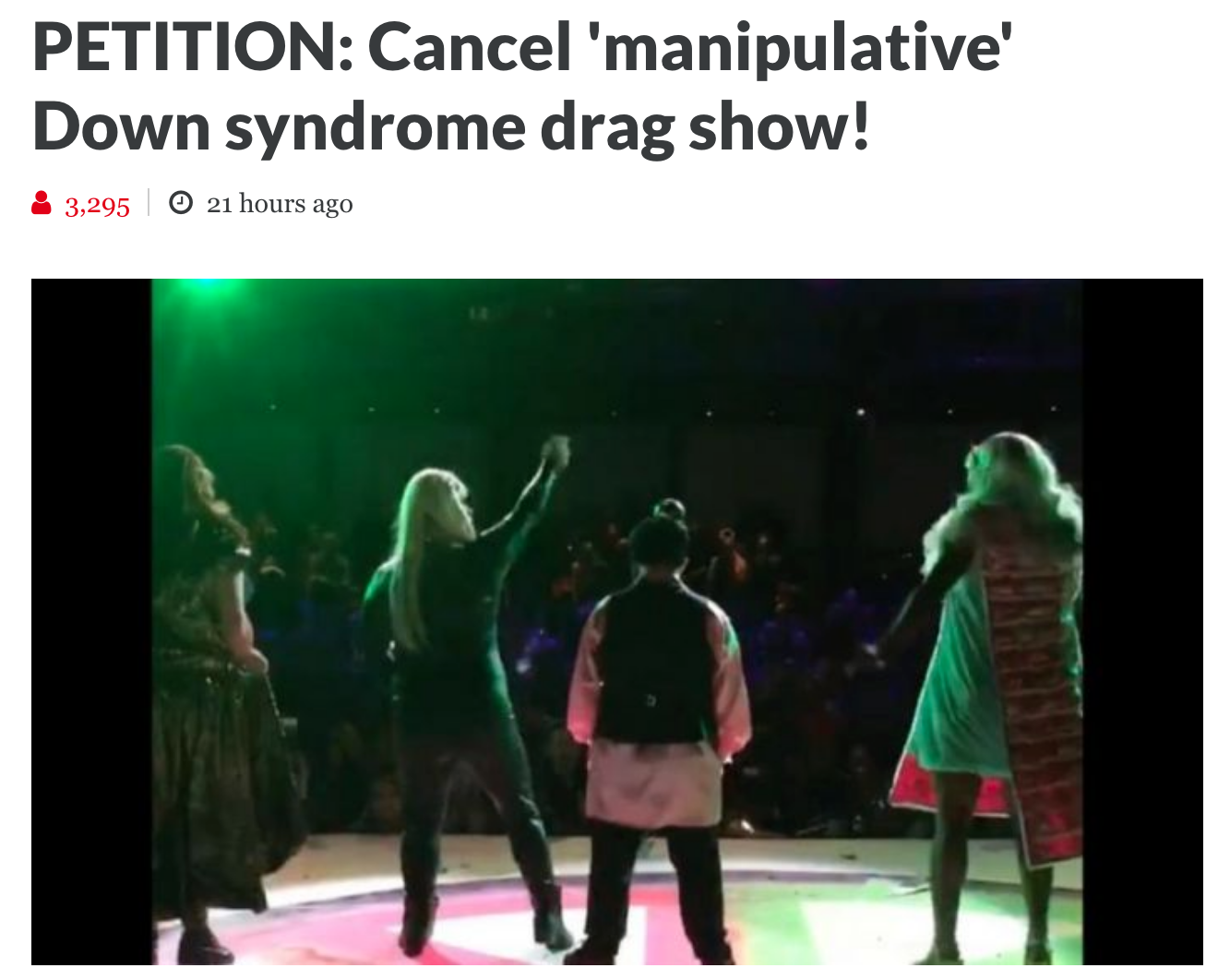 Stop Drag show with people with Down syndrom
